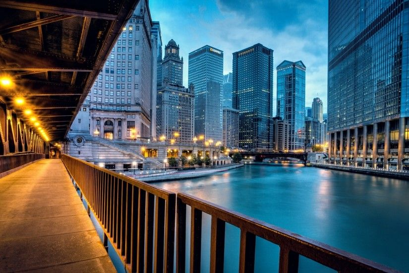 Preview wallpaper chicago, llinois, illinois, usa, united states, city,  evening