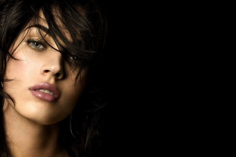 Actress Black Background Brunettes Celebrity Faces Megan Fox Women