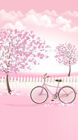 Pink Bicycle and Trees Wallpaper