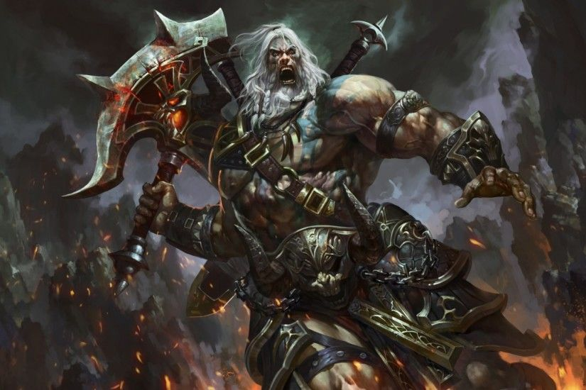 1920x1080 Wallpaper barbarian, diablo 3, warrior, armor, cry, eyes, arms