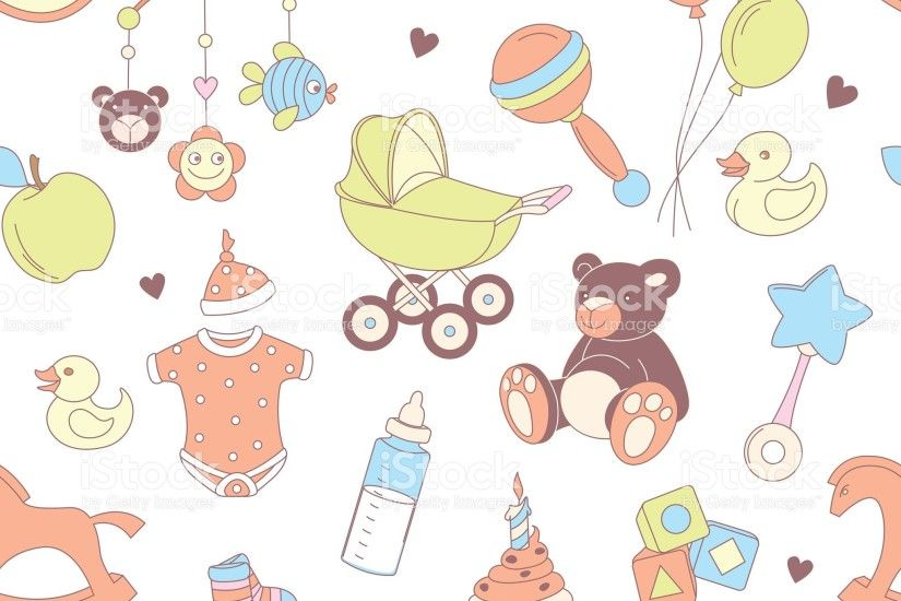 Baby shower seamless pattern. Texture for baby girl, baby boy royalty-free  stock