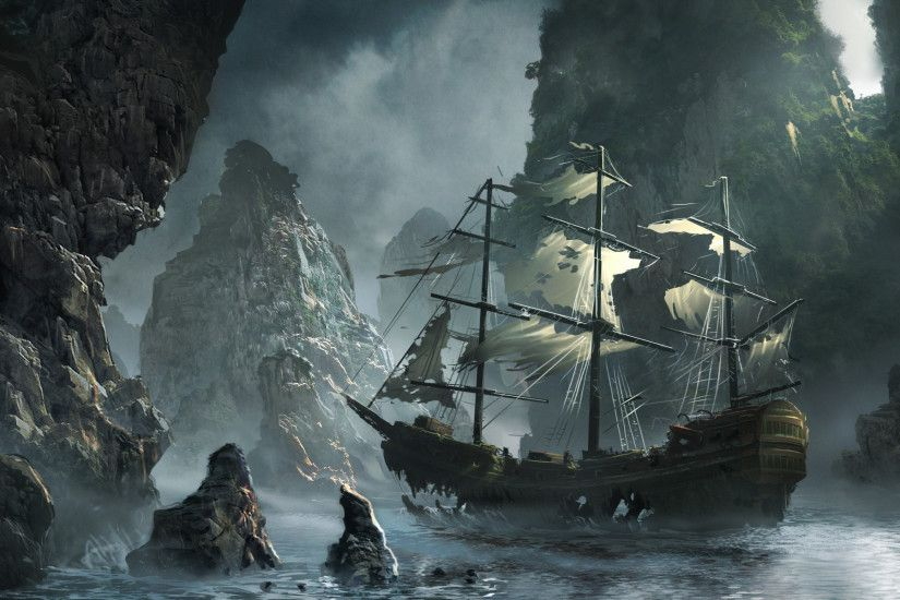 Storm, Michal Matczak, The Flying Dutchman, Matchack, Sea, Ghost Ship  Approaching