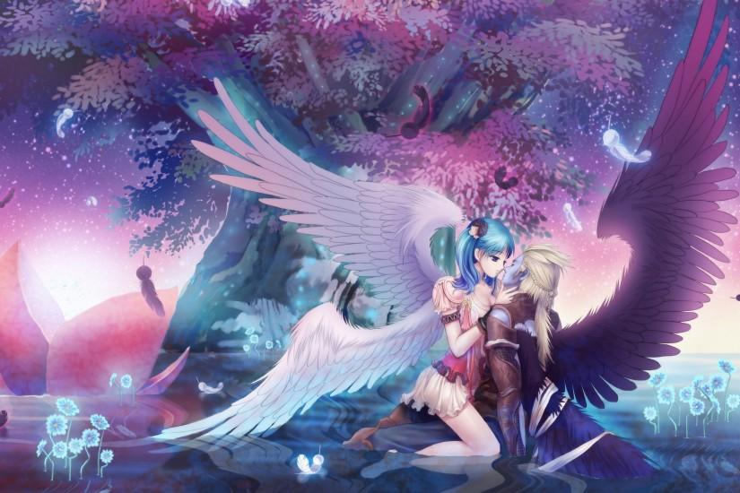 Guy Girl Wings Kiss Classy Anime Music Wallpaper