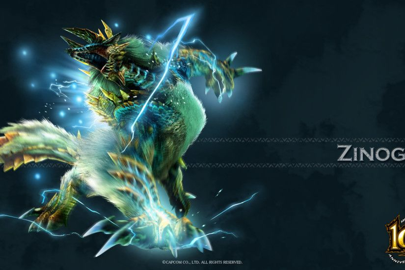 Image - MH 10th Anniversary-Zinogre Wallpaper 001.jpg | Monster Hunter Wiki  | FANDOM powered by Wikia