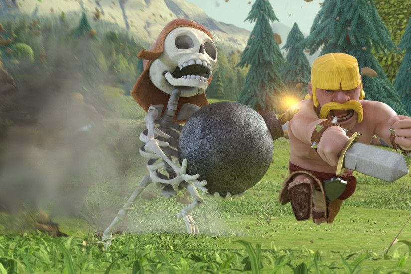 Clash of Clans - Barbarian and skeleton 1920x1080 wallpaper