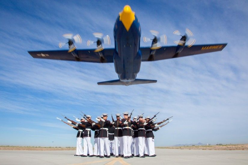"The Blue Angels use a United States Marine Corps Lockheed C-130T Hercules,  nicknamed ""Fat Albert"", for their logistics, carrying spare parts,  equipment, ..."