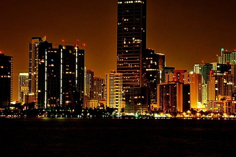 Miami Beach Night miami florida skyline wallpaper ...