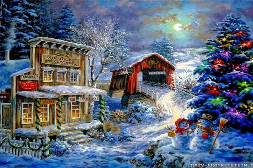 Christmas Snow Scene Wallpapers - Wallpaper Cave Winter Christmas wallpapers  2 - Crazy Frankenstein ...
