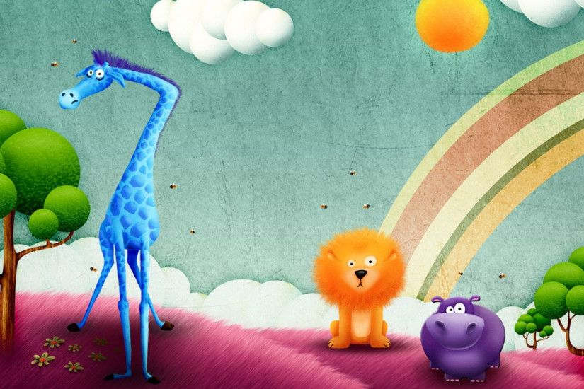 Preview wallpaper funny, animals, drawing, rainbow 2560x1440