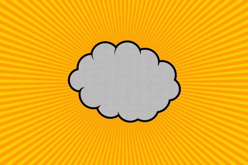 Pop art background animation, HD. Comic style cloud on yellow background.  Motion Background - VideoBlocks