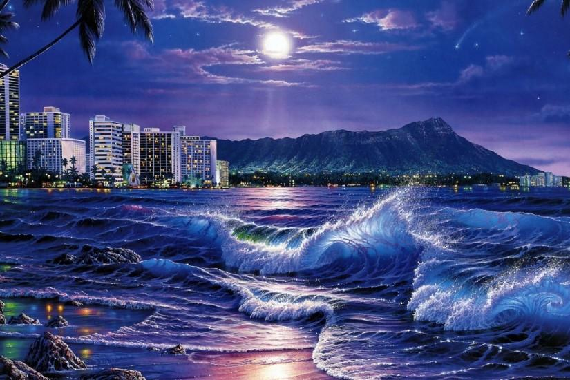 Preview wallpaper sea, waves, city, night, beach, moon, stars,