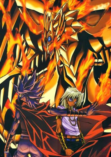Well theres not many Yu-Gi-Oh! This is one of the few Yu-Gi-Oh! The Duel  Monster in the background is The Winged Dragon of Ra. The characters are  Yami Malik ...