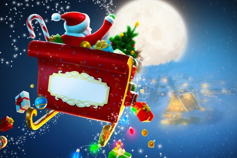 Free Christmas Scene Santa Claus Sleigh Reindeer, computer desktop  wallpapers, pictures, images