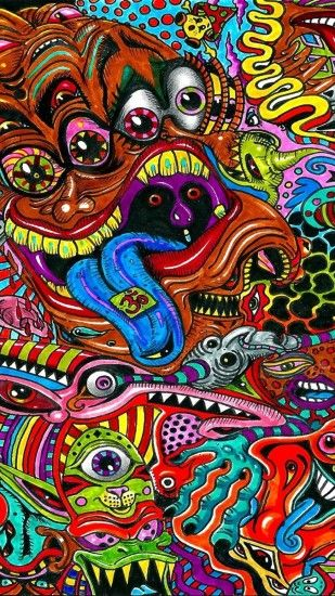 1440x2560 Wallpaper drawing, surreal, colorful, psychedelic