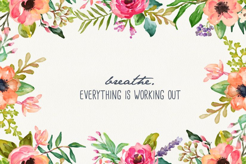 Breathe - Floral Desktop Wallpaper - Inspired by Beatrice Clay - Wallpaper  Zone