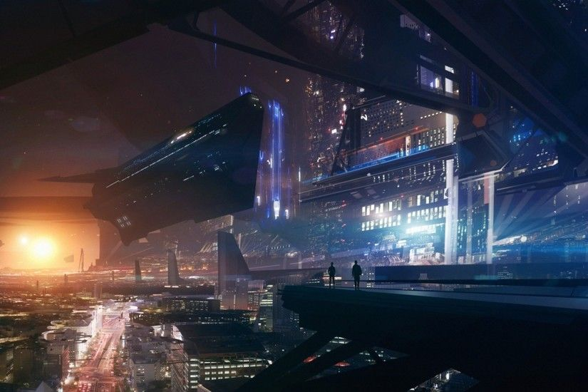 future City, Lights, Space, Futuristic, Spaceship, Fantasy Art, Mass Effect  Wallpaper HD
