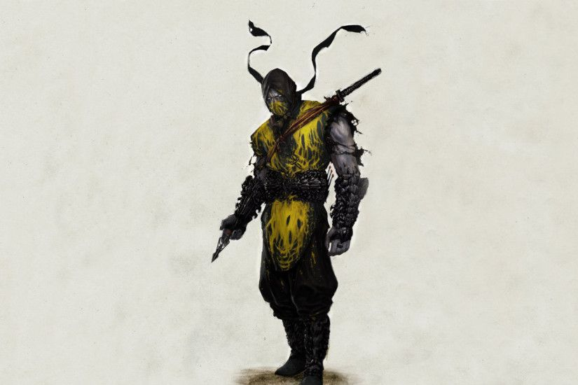 Preview wallpaper scorpion, mortal kombat, warrior, art 2048x1152