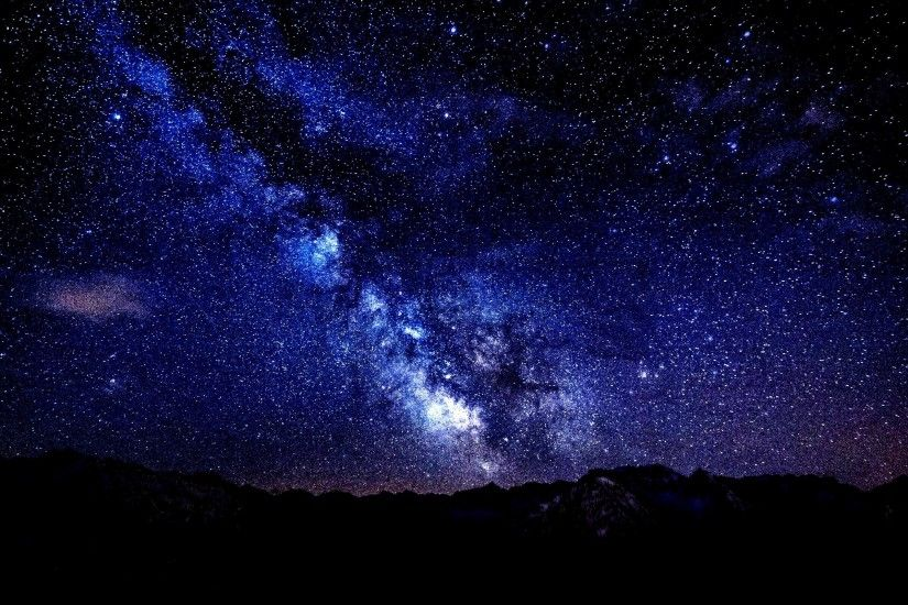 Mountains Night Sky Stars High Contrast