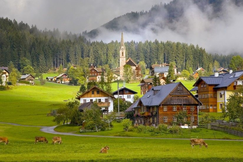 Preview wallpaper austria, gosau, village, houses, cows 2560x1440