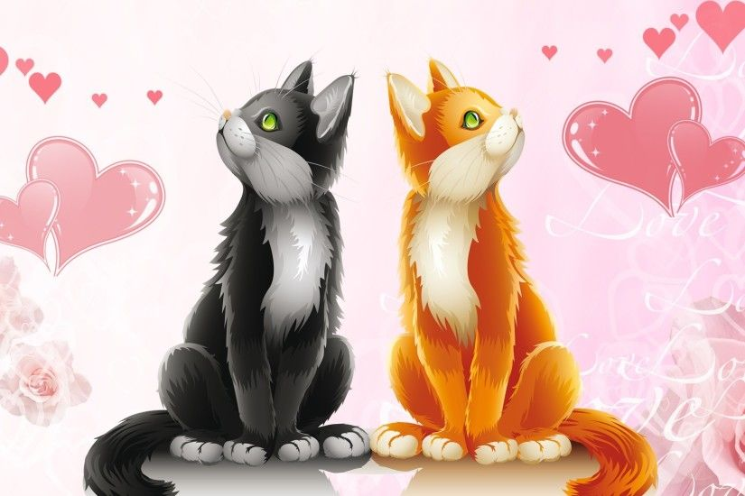 free animal valentine wallpapers Cute Animal Cat Valentines Day Hd Free  Wallpaper