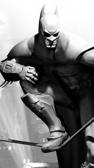 1080x1920 Wallpaper batman arkham city, character, cloak, airship, bat,  black and