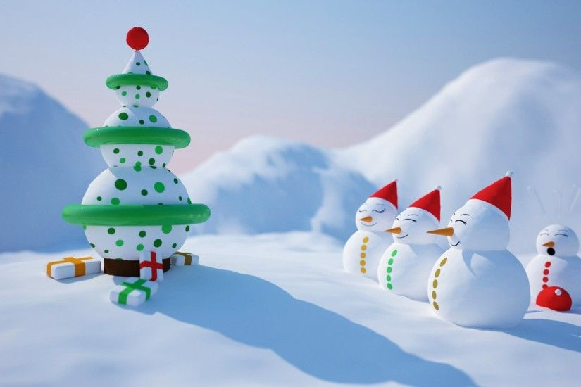 Snowmen And Snow Tree Funny Christmas Animated Wallpaper