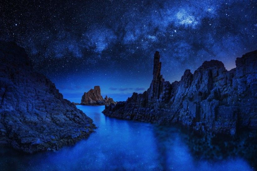 Earth - Rock Night Nature Sky Blue Star Starry Sky Wallpaper