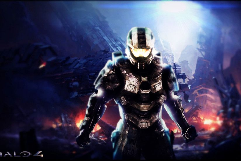 halo 4 wallpaper - red - blue