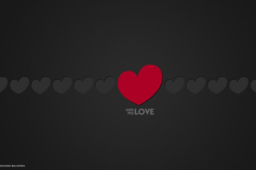 love word one my love minimalistic red grey hearts hd widescreen wallpaper