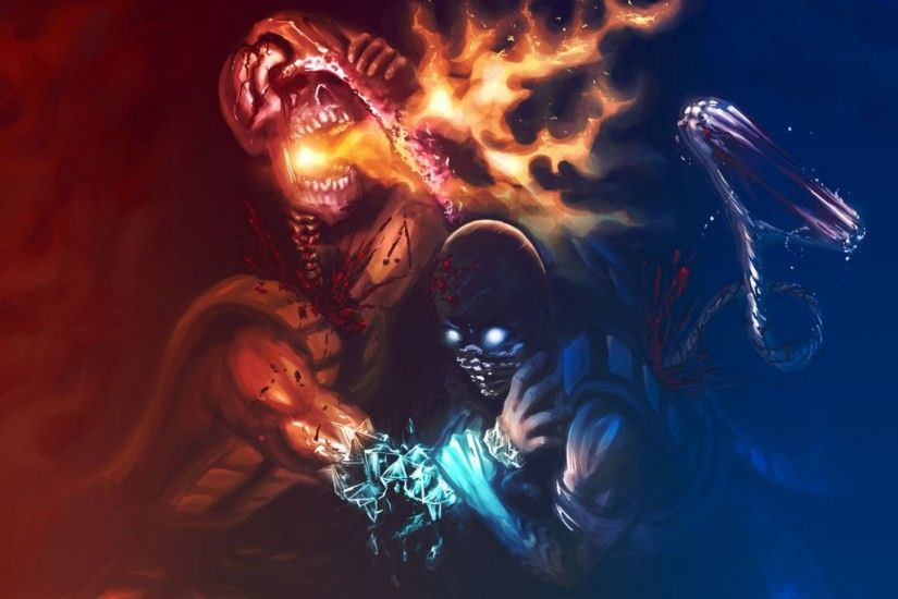 1920x1080 Wallpaper mortal kombat, scorpion, sub zero, art, confrontation