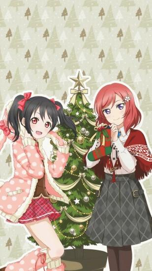 love live school idol project nico and maki xmas phone wallpaper