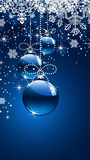 Christmas ornaments (blue background) Galaxy S5 Wallpaper