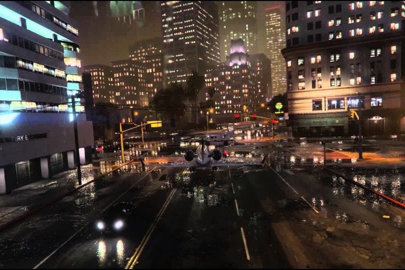 GTA V - Heavy rain landing in the city - YouTube