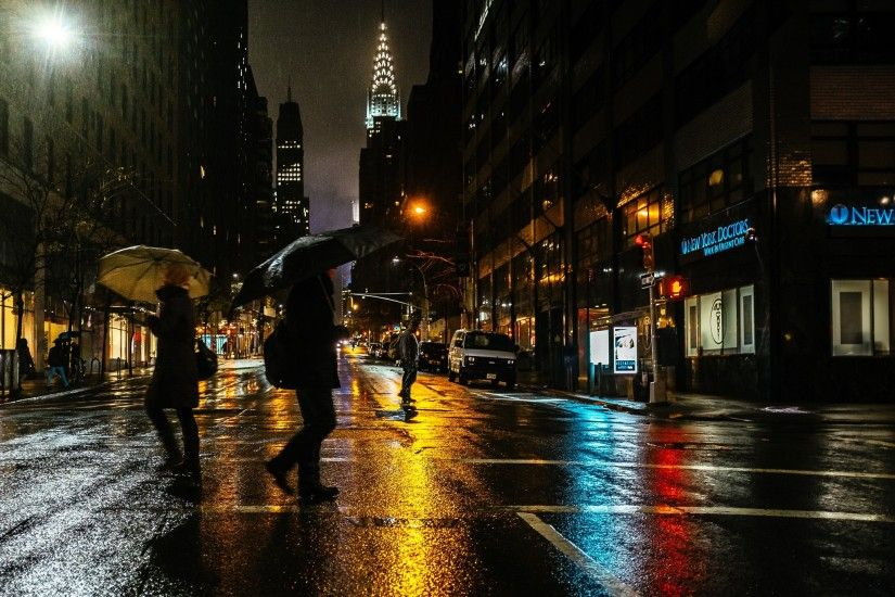 ... women men city umbrella rain new york city wallpapers hd ...