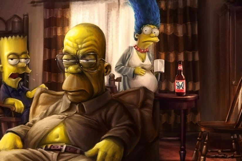 Breaking Bad, TV, The Simpsons, Artwork, Marge Simpson, Homer Simpson, Bart Simpson  Wallpapers HD / Desktop and Mobile Backgrounds