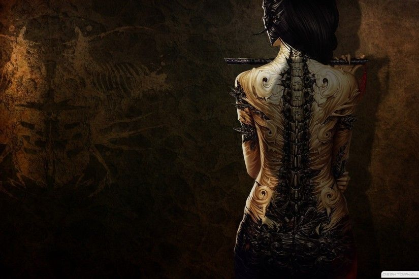 Dark Art Photography | Tattoos Girl Dark Digital Art 1920×1080 #83388 HD  Wallpaper