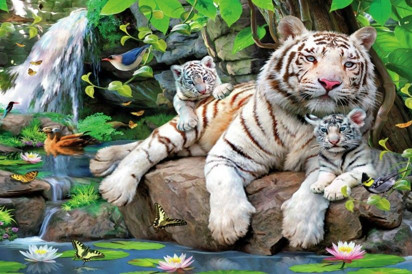 White Tiger With Cubs Hd HD Desktop Background wallpaper free