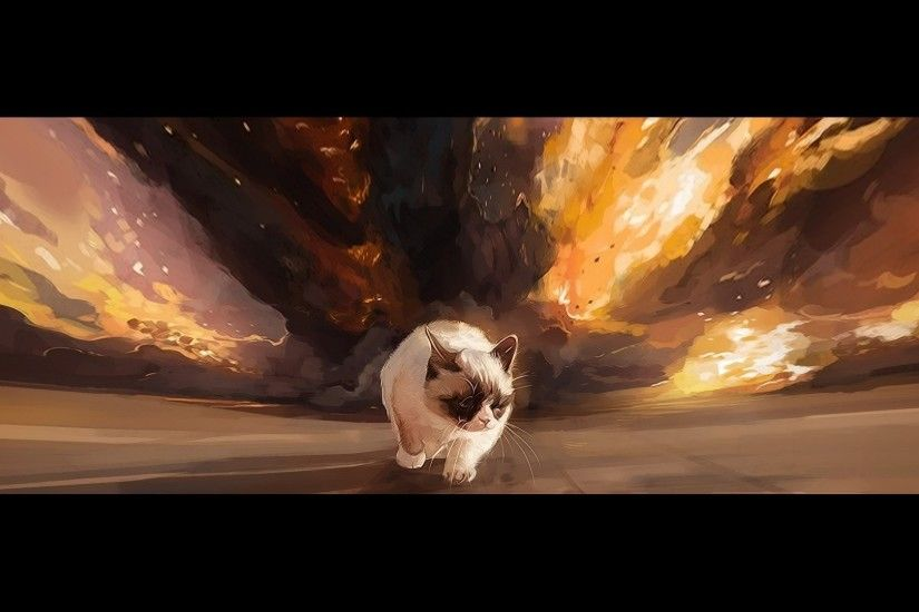 grumpy cat tarde surly cat gait background explosion