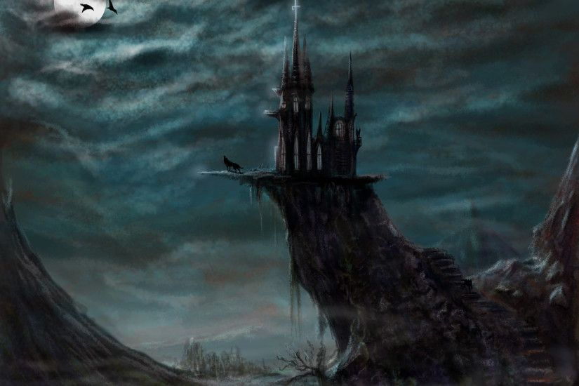 fantasy wolf wallpapers | Art, fantasy, evil castle, castle, night, moon