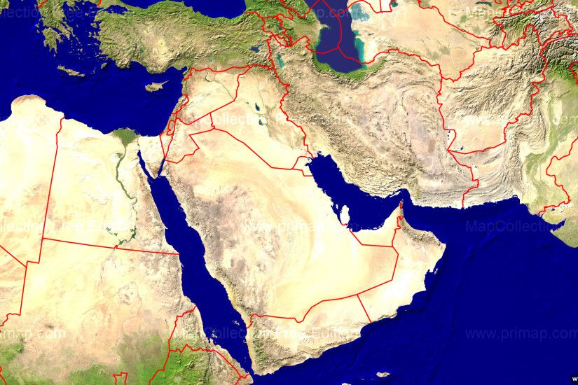 satellite map of middle east ...