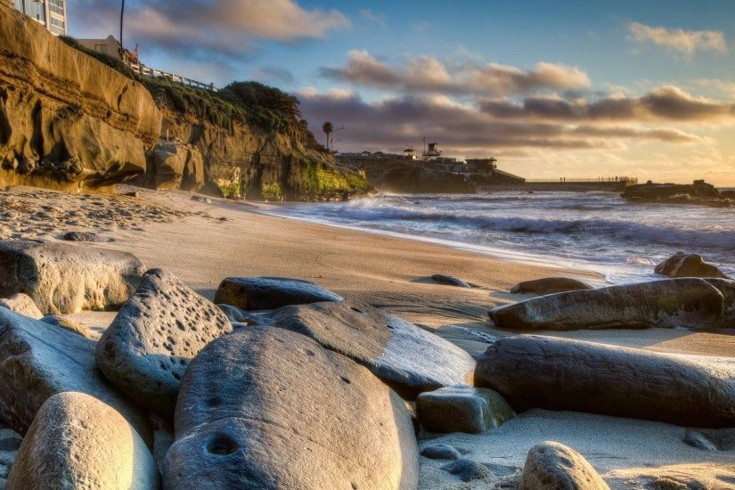 Rocks Cliff Beach Magnificent Near California Town Clouds San Diego Sea  Wallpaper Apple Detail