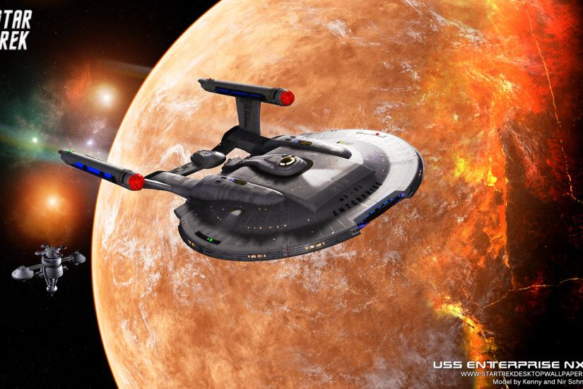 Star Trek Enterprise NX01 On Burning Planet. Free Star Trek computer  desktop wallpaper, images
