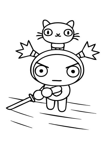 Pucca cartoon coloring pages for kids, printable free