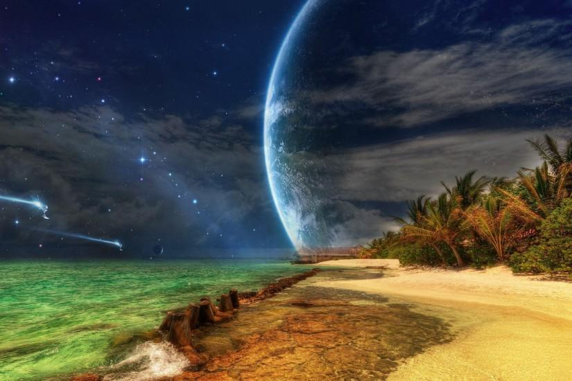 Spaceships approaching tropical island Wallpaper #