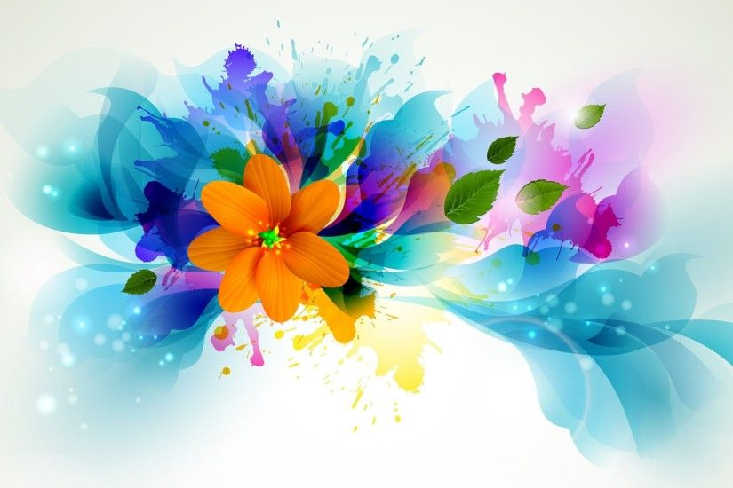 flowers, Artwork, Leaves, Paint Splatter Wallpapers HD / Desktop .