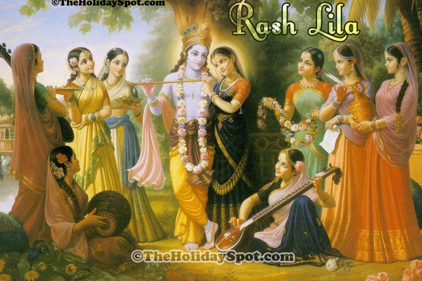 High Definition wallpapers featuring Lord Krishna having rash lila with the  gopis.