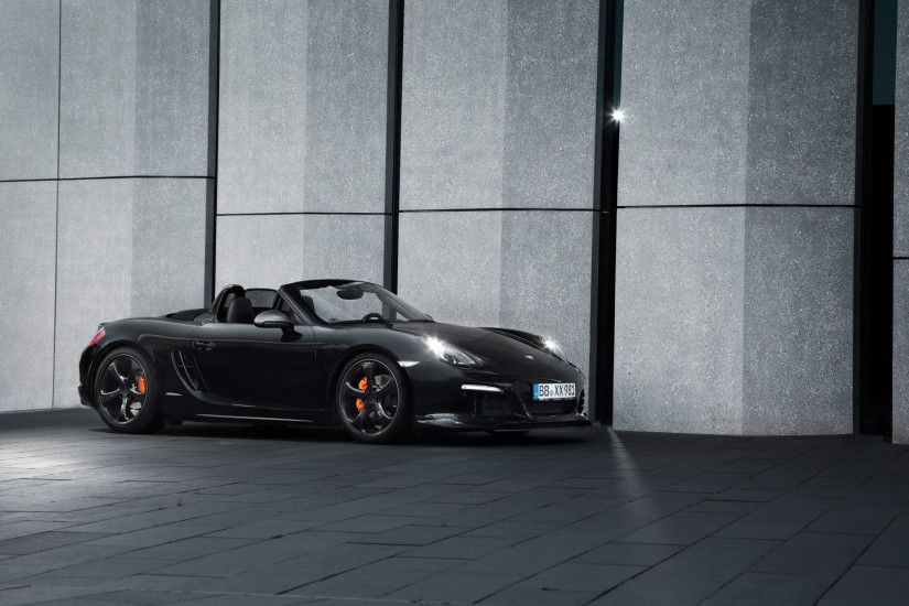 Preview wallpaper porsche, boxster, black, side view, convertible 3840x2160