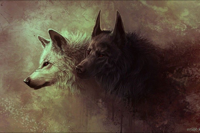 Gray and Black Wolves Painting Wallpapers HD