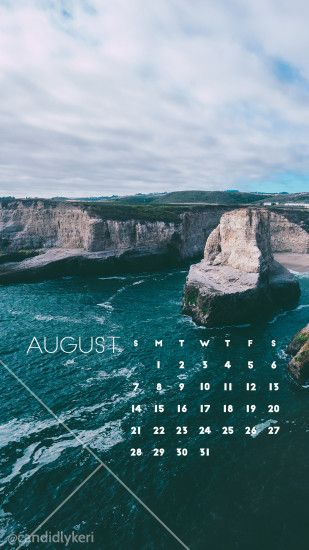 Ocean cliff pretty background August calendar 2016 wallpaper you can  download for free on the blog