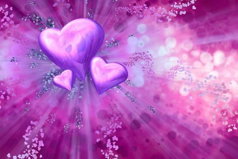 3d love heart purple wallpaper